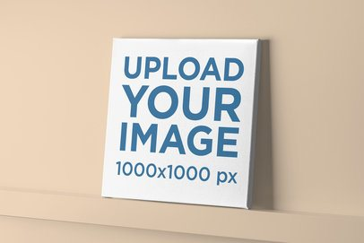 Customizable Mockup of a Canvas Placed on a Shelf 2524-el1