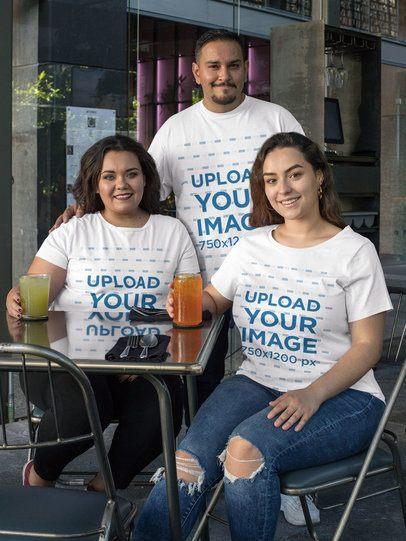 Plus Size T-Shirt Mockup Featuring Three Friends Having Drinks 31074
