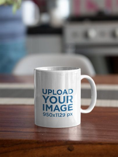 Mockup of an 11 oz Coffee Mug Placed on a Tabletop 31309