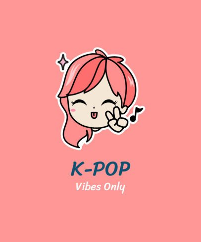 T-Shirt Design Template for K-Pop Fans Featuring a Happy Girl Illustration 2199i