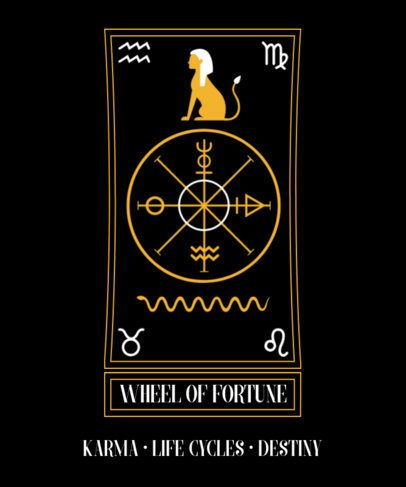 T-Shirt Design Template with a Tarot and Occultism Theme 2197