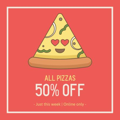 Facebook Post Maker Featuring a Pizza Slice with Heart Eyes 2209a