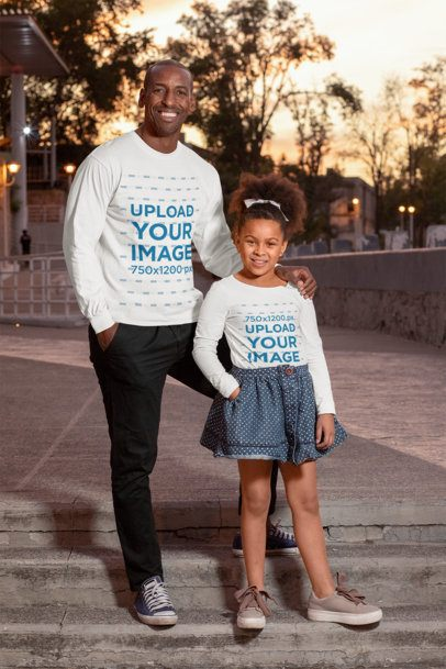 Long-Sleeve Tee Mockup Featuring a Girl and Her Father at the Street 31399