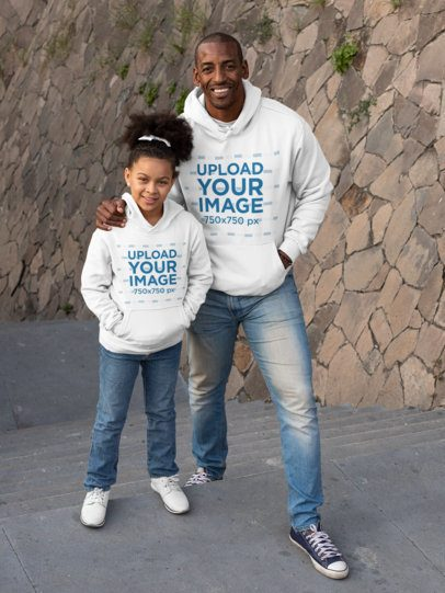 Pullover Hoodie Mockup Featuring a Father and Daughter Posing 31396