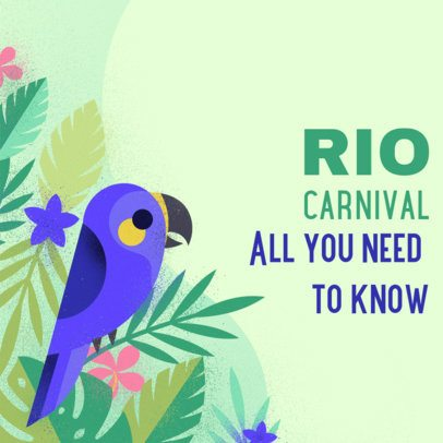 Brazilian Carnival Instagram Post Maker Featuring a Hyacinth Macaw Graphic 2212c