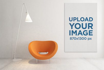 Mockup of a Vertical Art Print Placed in a Modern Living Room 2505-el1