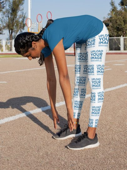 Leggings Mockup Featuring a Young Woman Doing Stretches 31347