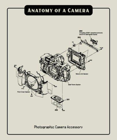 T-Shirt Design Template Featuring a Retro Electronics Parts Diagram 247-el1