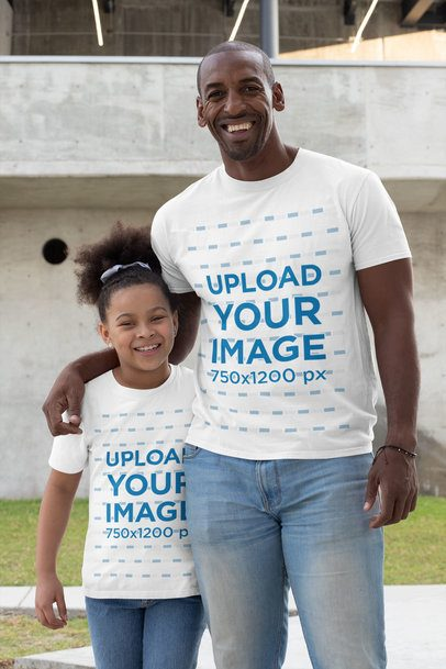 T-Shirt Mockup Featuring a Proud Father with His Little Daughter 31391