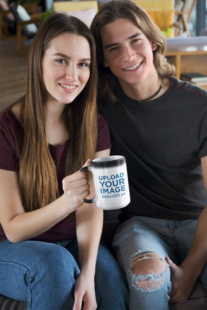 Mockup of a Smiling Couple Holding a 15 oz Mug 31597