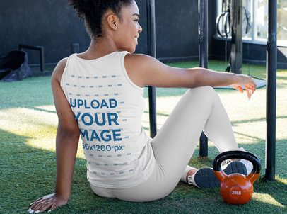 Back View Mockup of a Woman with a Tank Top at a Gym 31335