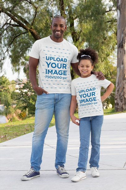T-Shirt Mockup Featuring a Single Dad with His Daughter 31389