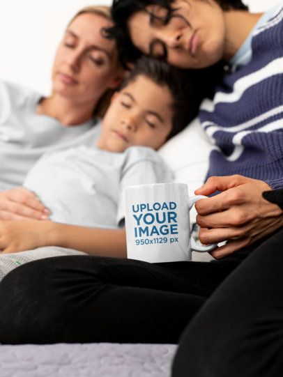 11 oz Coffee Mug Mockup of a Two-Mom Family and Their Son 31420