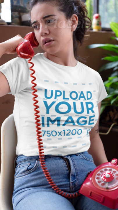 T-Shirt Video of a Woman Using a Vintage Red Phone 22465