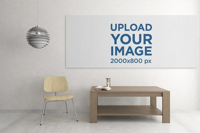 Art Print Mockup Featuring a Canvas Hanging over a Neat Wooden Table 2509-el1