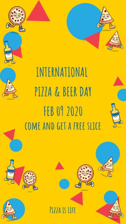 Pizza Day Instagram Story Maker with Cartoonish Illustrations 2207b