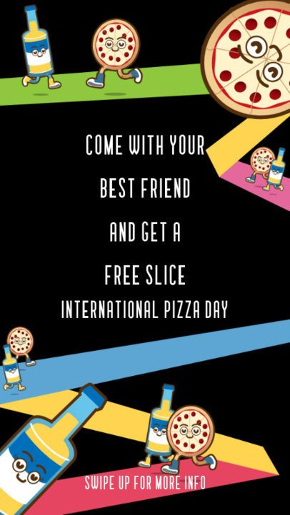 Instagram Story Generator for International Pizza Day with Cartoon Illustrations 2207c