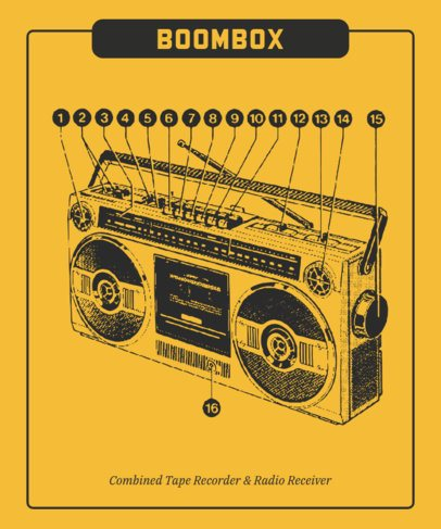 T-Shirt Design Maker Featuring a Retro Boombox Graphic 247a-el1