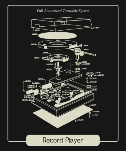 Retro T-Shirt Design Maker Featuring a Turntable Parts Diagram 247b-el1