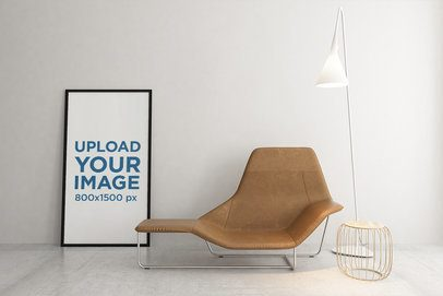 Mockup of an Art Print in a Modern Room with a Cool Divan 2511-el1