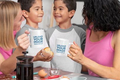 11 oz Coffee Mug Mockup of a Two-Mom Family with Their Sons 1414