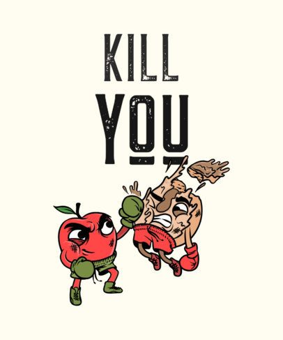 Funny T-Shirt Maker with an Illustration of Food Fighting 705a-el1