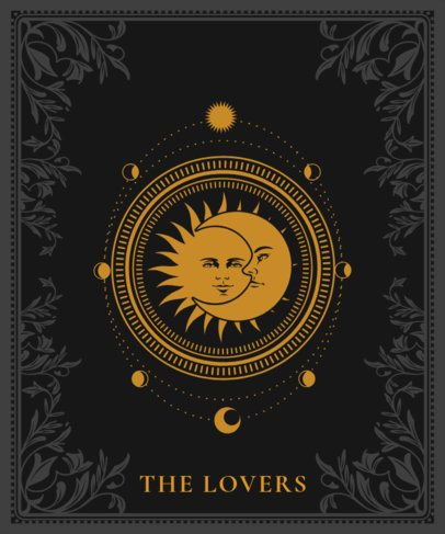 Tarot T-Shirt Design Template Featuring a Sun and Moon Illustration 2196a