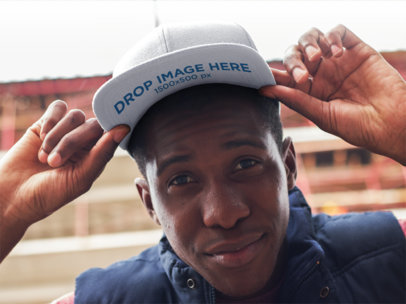 Urban Style Young Black Man Wearing a Snapback Mockup 11774