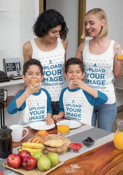 Raglan Tee Mockup of Two Kids Eating Muffins with Their Two Moms in Tank Tops 31416
