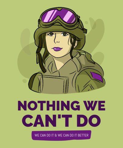 Women Empowerment T-Shirt Design Template Featuring a Female Soldier 2195g