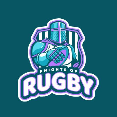 Sports Logo Template Featuring a Rugby Knight Graphic 1616r-2936