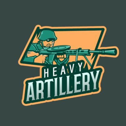 Gaming Logo Template Featuring a Shooter with Heavy Artillery 2898e