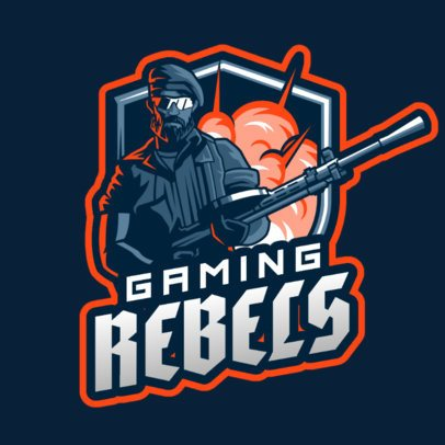 Gaming Logo Template Featuring a Soldier with a Sniper 2898e