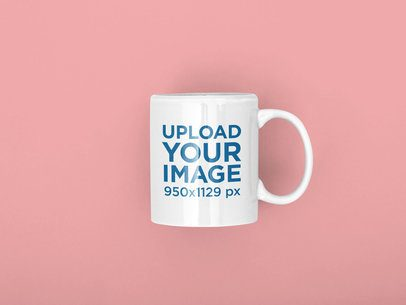 Mockup of an 11 oz Coffee Mug Lying on a Solid Color Surface 31889