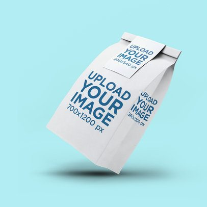 Packaging Mockup of a Paper Bag Floating against a Plain Color Backdrop 2583-el1