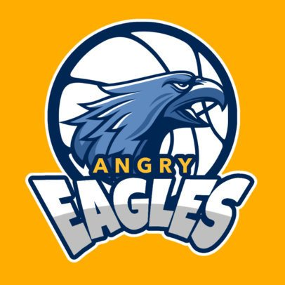 Logo Template with an Eagle Graphic for a Basketball Team 336r-2935