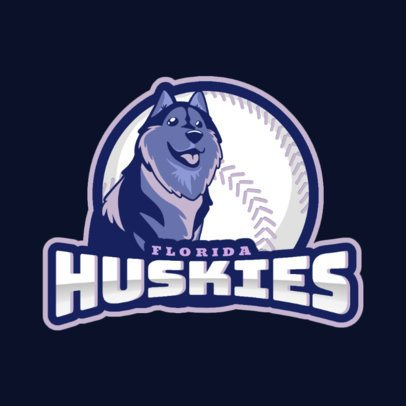 Baseball Logo Maker for Sports Teams With a Cute Husky Clipart 172mm-2927