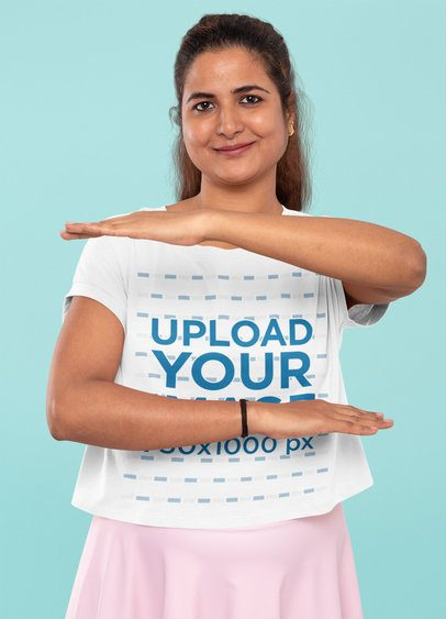 Crop Top Mockup Featuring a Woman Doing an Equality Symbol with Her Arms 31968