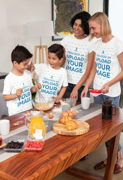 T-Shirt Mockup of Two Moms and Their Sons Having Fun While Baking 31406