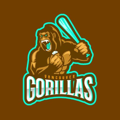 Baseball Logo Generator for a Sports Team With an Angry Gorilla Clipart 172kk-2932