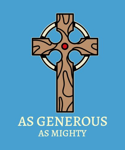 Religious T-Shirt Design Template With a Cross Illustration 2224e