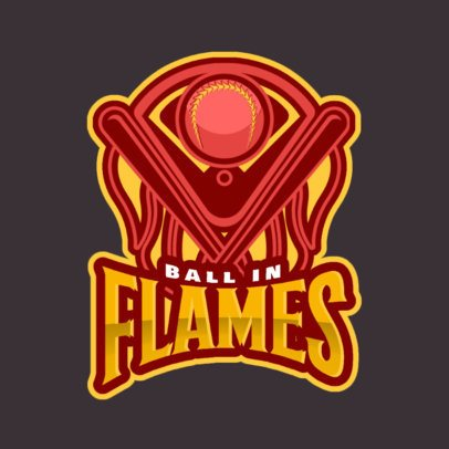 Logo Maker with a Baseball Ball in Flames 172jj-2935