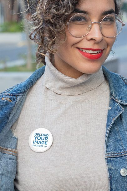 Pin Mockup Featuring a Smiling Woman with Round Glasses 31898