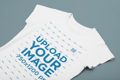 Flat Lay Mockup of a Woman's T-Shirt With a Sticker on It 31883