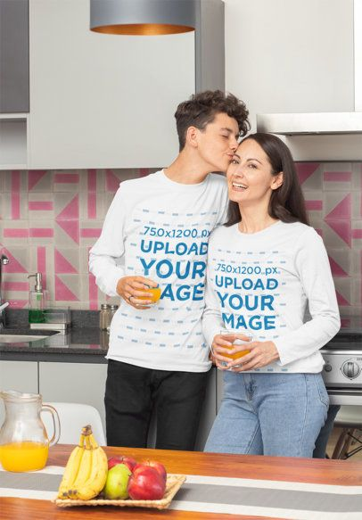 Long Sleeve Tee Mockup Featuring a Son Giving His Mom a Kiss 31438a
