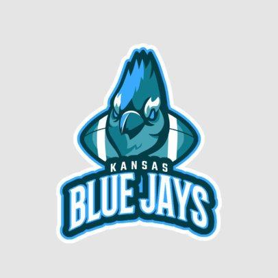 Football Team Logo Creator Featuring a Blue Jay Bird Graphic a245yy-2936