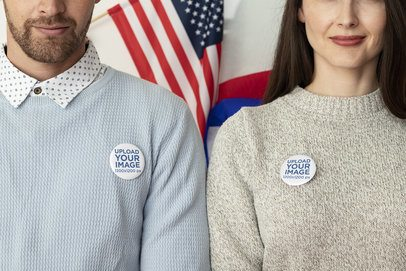 Mockup of Two People Wearing Political Pins 31923