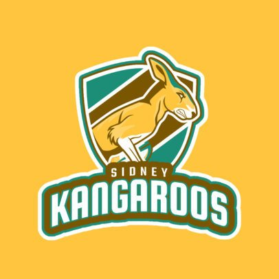 Rugby Logo Maker with a Strong Kangaroo Mascot 1616m-2930