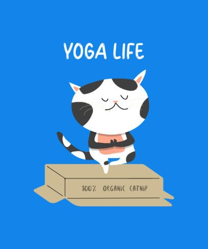 T-Shirt Design Template with Funny Cats Doing Yoga Postures 249-el1