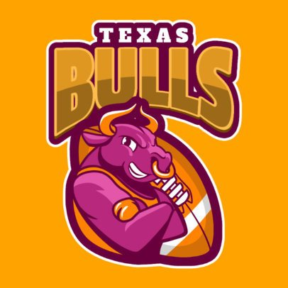 Sports Logo Maker for a Rugby Team Featuring a Bull Character 1619j-2933